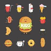 Set of cute cartoon fast food characters