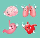Set of cute cartoon internal organs showing OK hand sign.