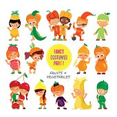 Set of cute cartoon kids in fruits and vegetables costumes.