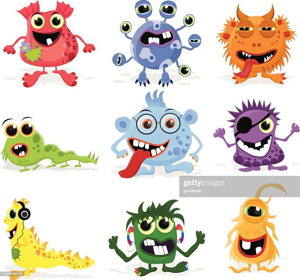 Set of cute cartoon monsters.