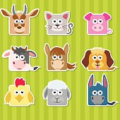 Set of cute cartoon square home animals  stickers