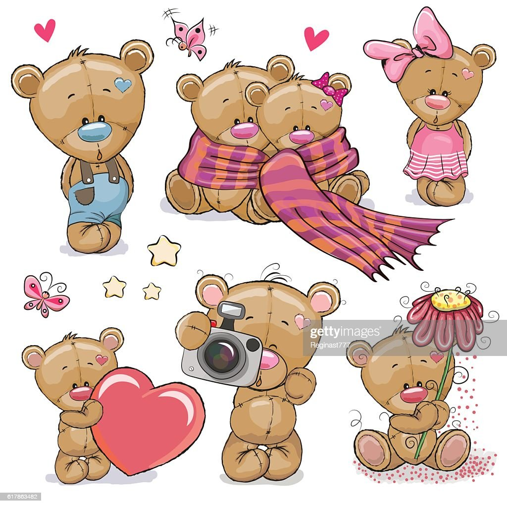 Set of Cute Cartoon Teddy Bear