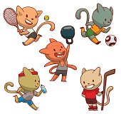 Set of cute cats involved in sports
