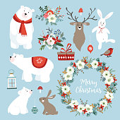 Set of cute Christmas clip-arts with bunnies, reindeer, polar bears, winter flowers, Christmas wreath and balls. Scandinavian design. Isolated hand drawn vector objects