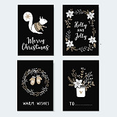 Set of cute Christmas greeting cards, invitations with squirrel, wreath glowes and winter flowers. Hand drawn illustrations, flat design with black background