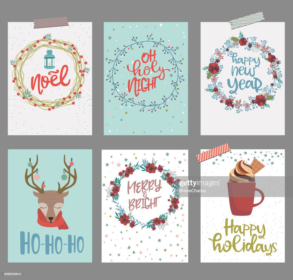 Set Of Cute Christmas Greeting Cards Vector Art Getty Images