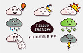 Set of cute clouds with different emotions and weather effects. Vector illustration cartoon pack