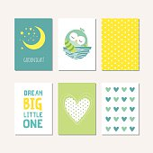 Set of cute creative cards