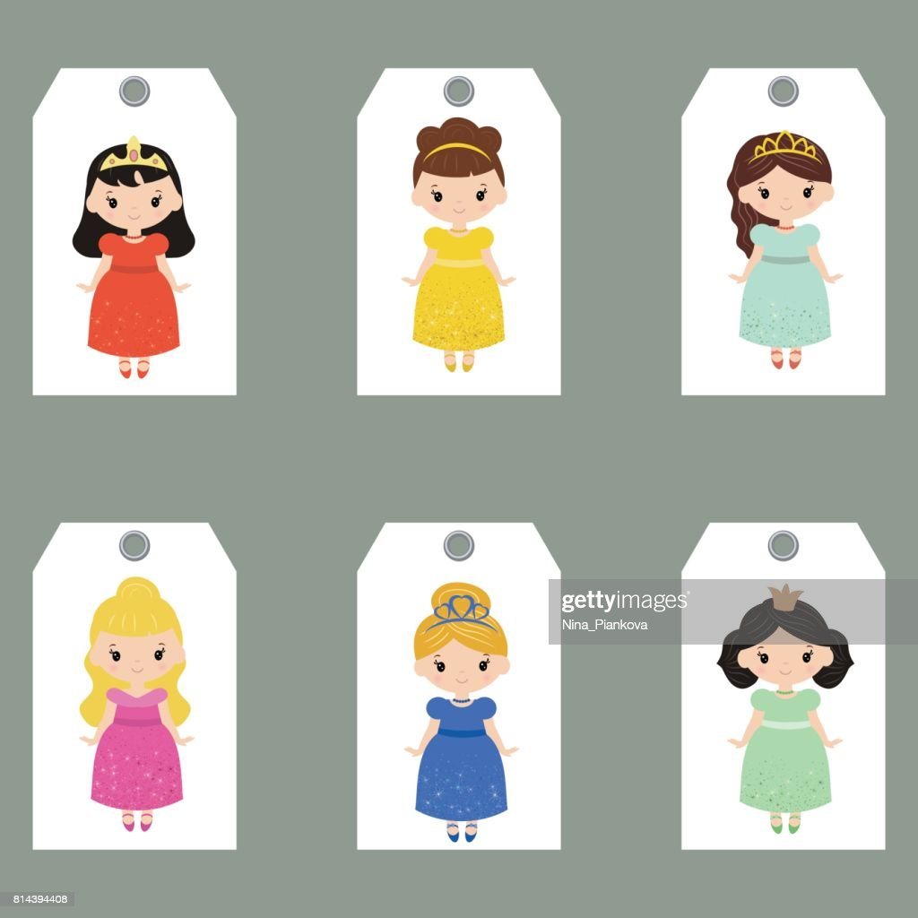 Set of cute creative cards with princess theme design.