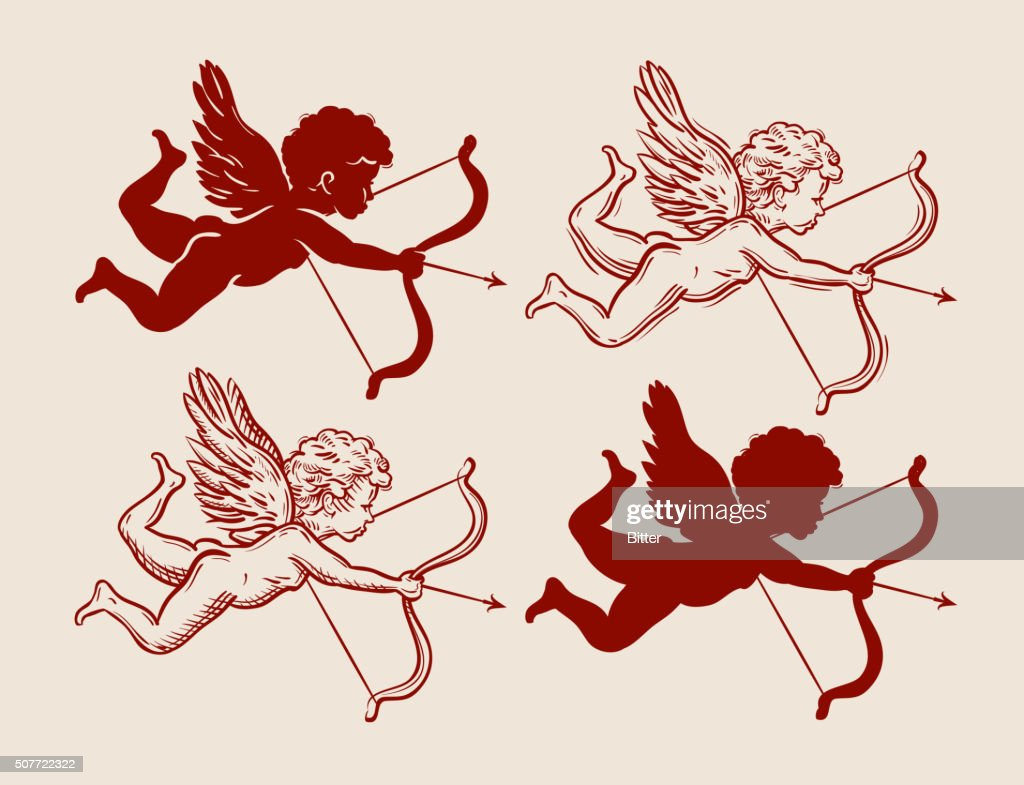 set of cute Cupid silhouettes. vector illustration
