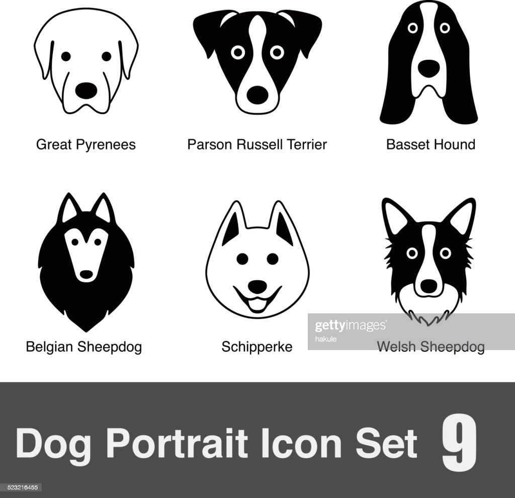 set of cute dog face icons, vector illustration