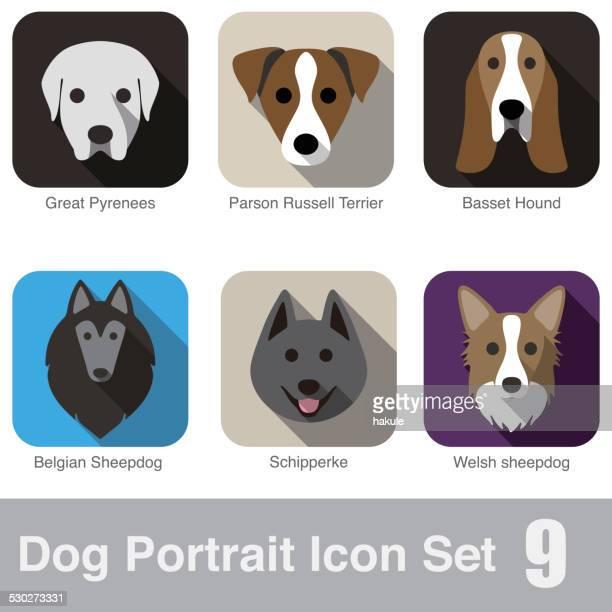 set of cute dog head icons, vector illustration - portrait stock illustrations, clip art, cartoons, & icons
