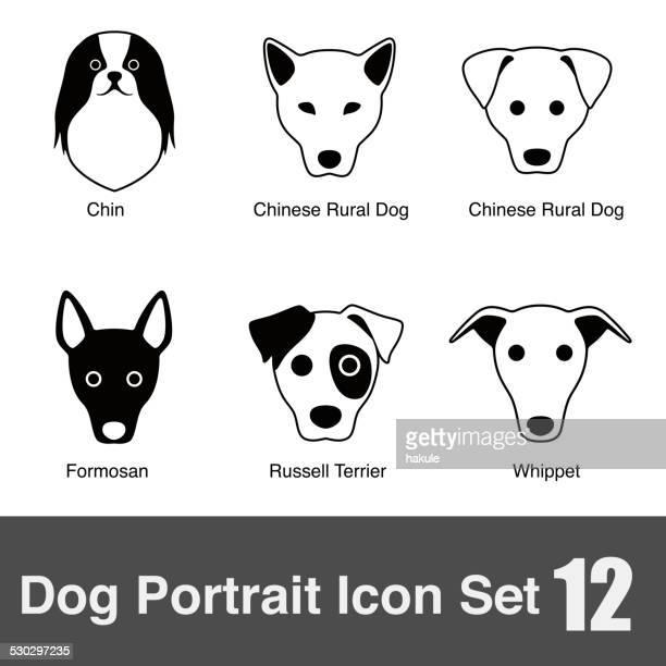 ilustraciones, imágenes clip art, dibujos animados e iconos de stock de perro cara charactor serie icono de diseño - grupo grande de animales