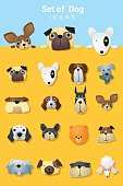 Set of cute dog icons