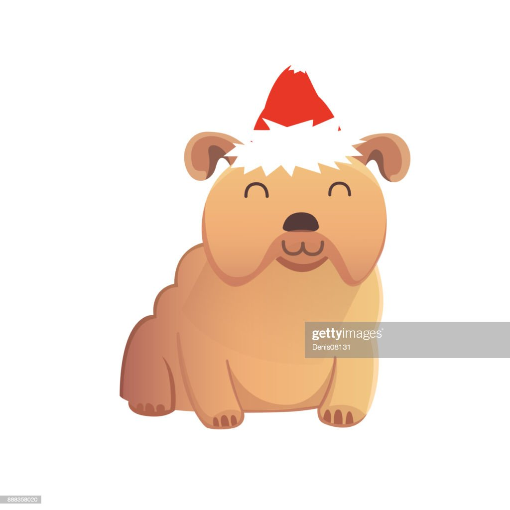 Set Of Cute Dogs In Red Santas Hat Christmas Puppy Winter Cartoon Illustration High Res Vector Graphic Getty Images