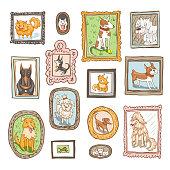 set of cute dogs retro portraits vector illustration
