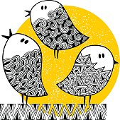 Set of cute doodle birds on the sunny background.