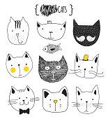 Set of cute doodle cats. Sketch cat. Cat handmade print