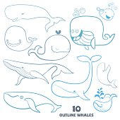 Set of cute doodle Whale Characters.