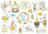 Set of cute Easter cartoon characters and design elements