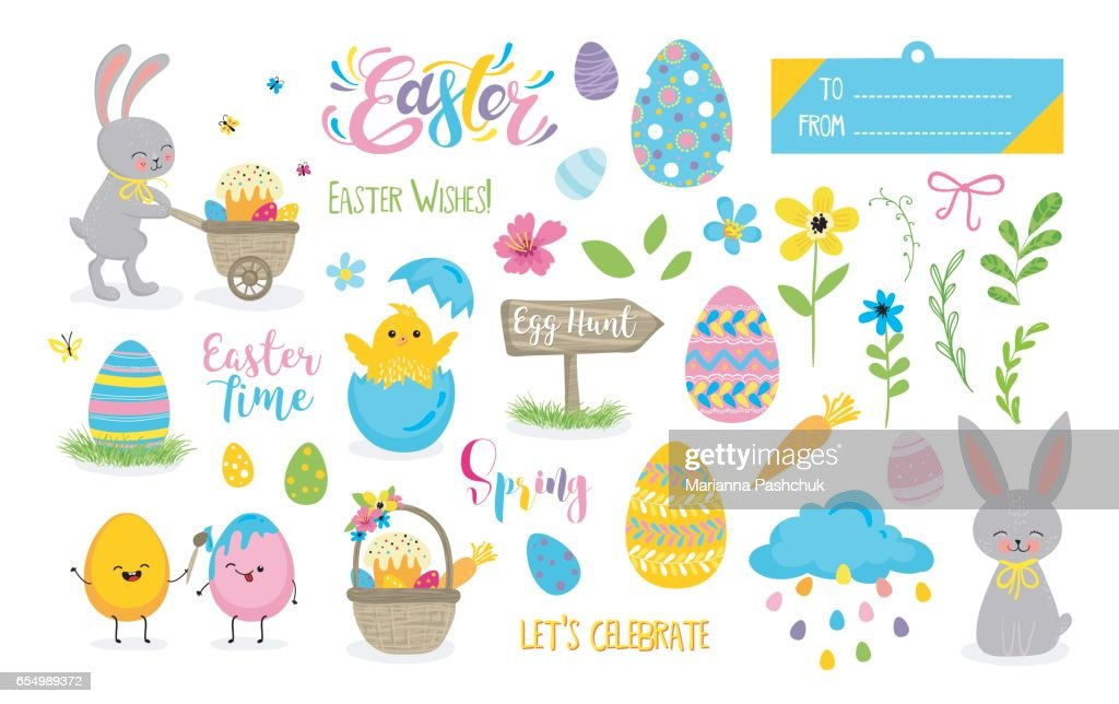 Set of cute Easter cartoon characters and scrapbooking elements.