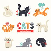 Set of cute eight cats with different characters