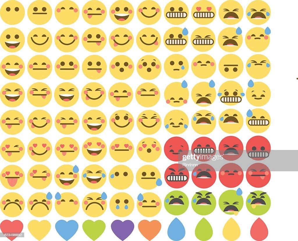 Set of cute emoticons, emoji flat design, vector illustration.