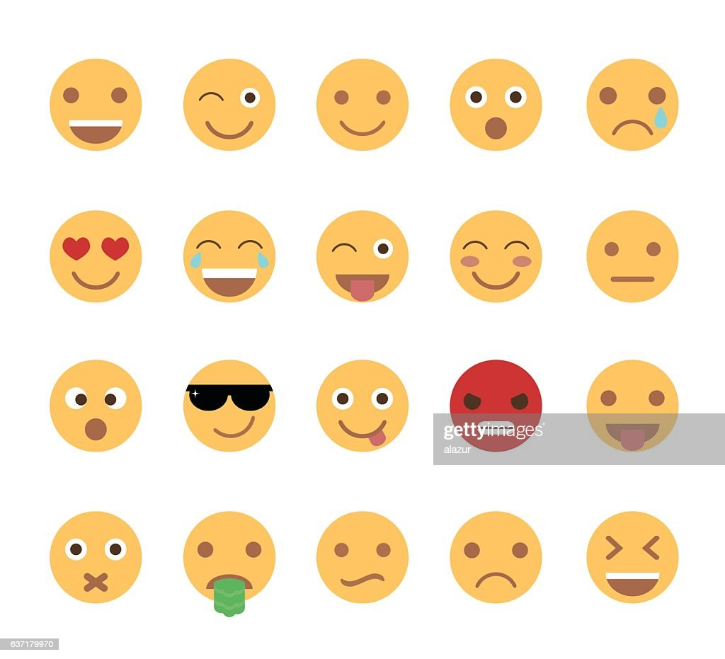 Set of cute emoticons isolated on white background.