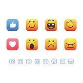 Set of cute emoticons
