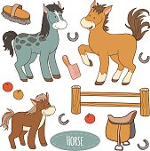 Set of cute farm animals and objects, vector family horse