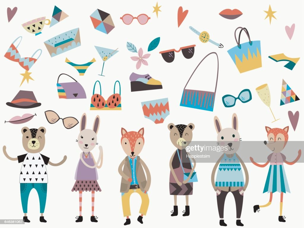 Set of cute fashion animals and fashion elements and accessories.