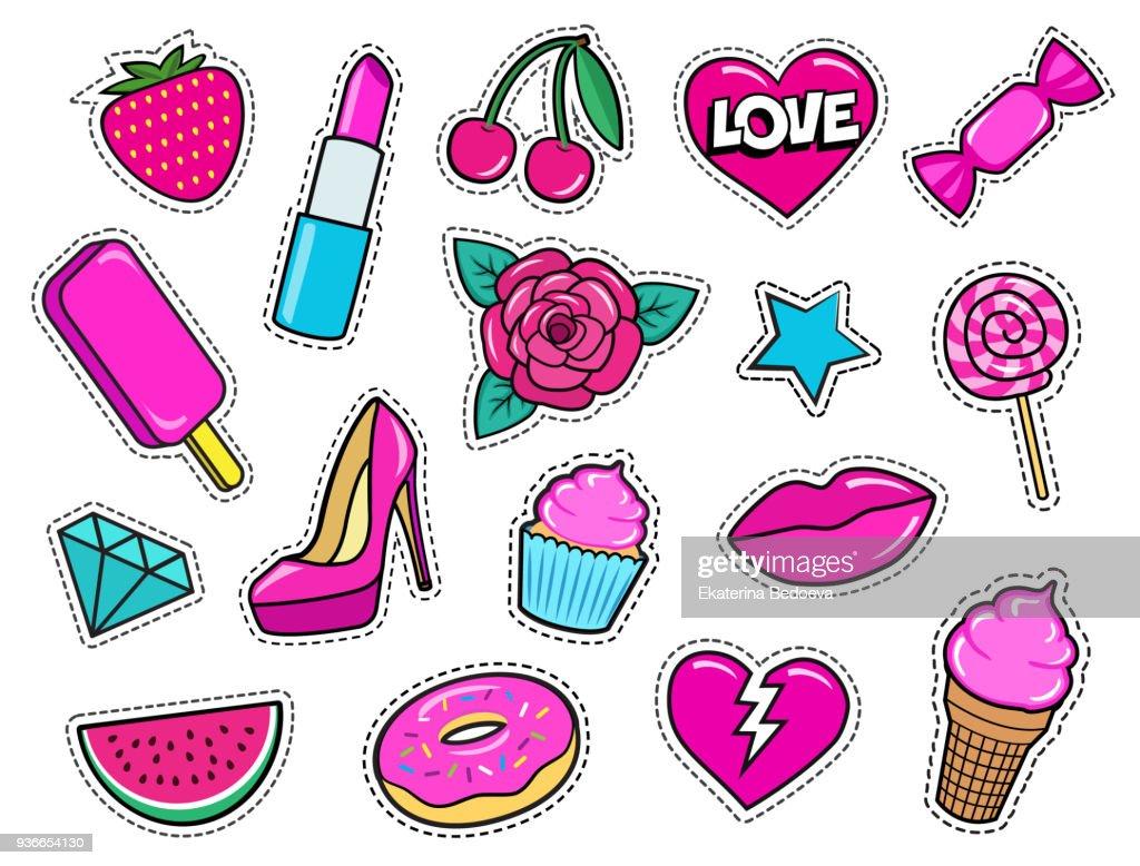 Set of cute fashion patches, strawberry, lipstick, ice-cream, donut, shoe, rose, diamond, lips, watermelon, cherry, cupcake, candy etc.