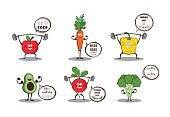 Set of cute fruits and vegetables doing sport with motivation quotes