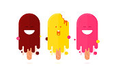 Set of cute funny ice creams flat icons. Happy and scared bitten ice creams melting on the summer sun.