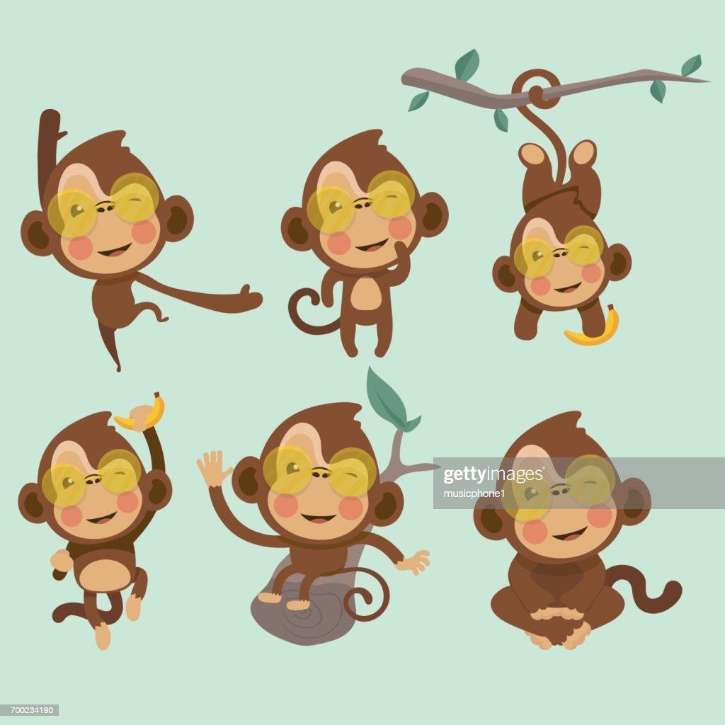 Set of cute funny monkeys.