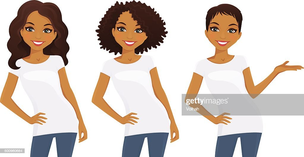 Set of cute girls in white T-shirts