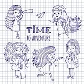 Set of cute girls women traveler