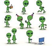 Set of cute green alien creatures.