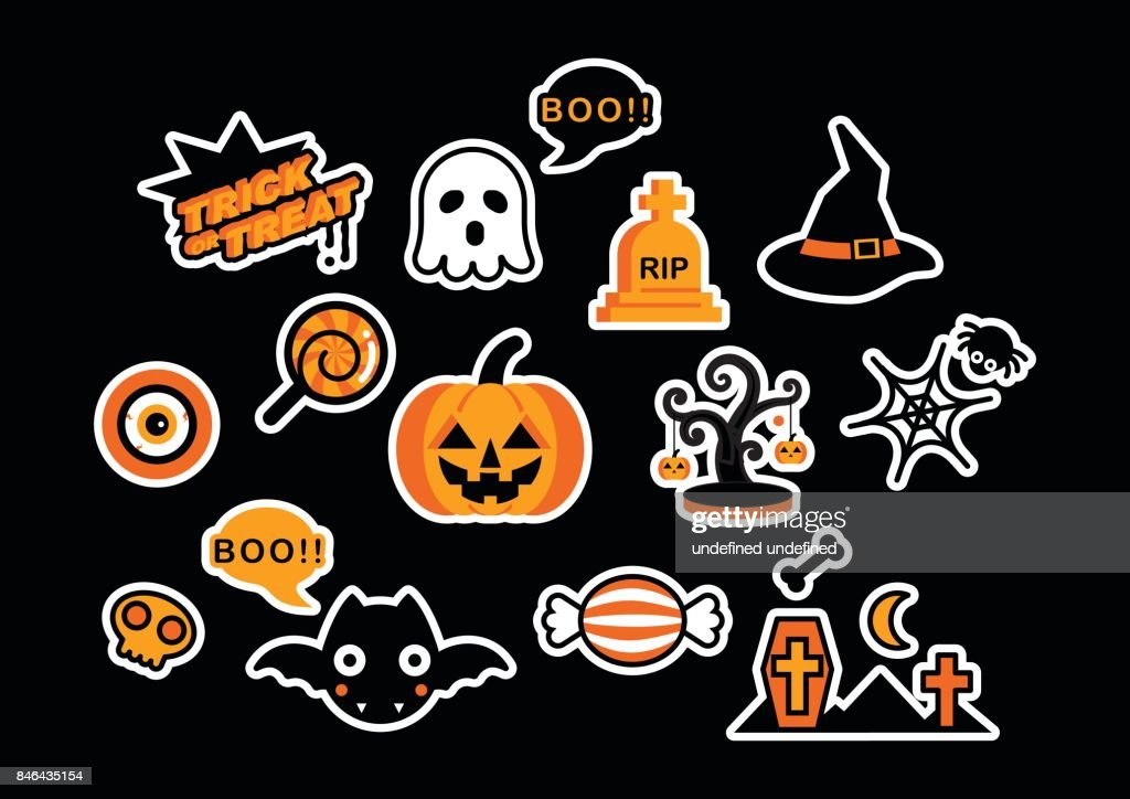 Set of Cute Halloween Logo Icon Design Elements Vector