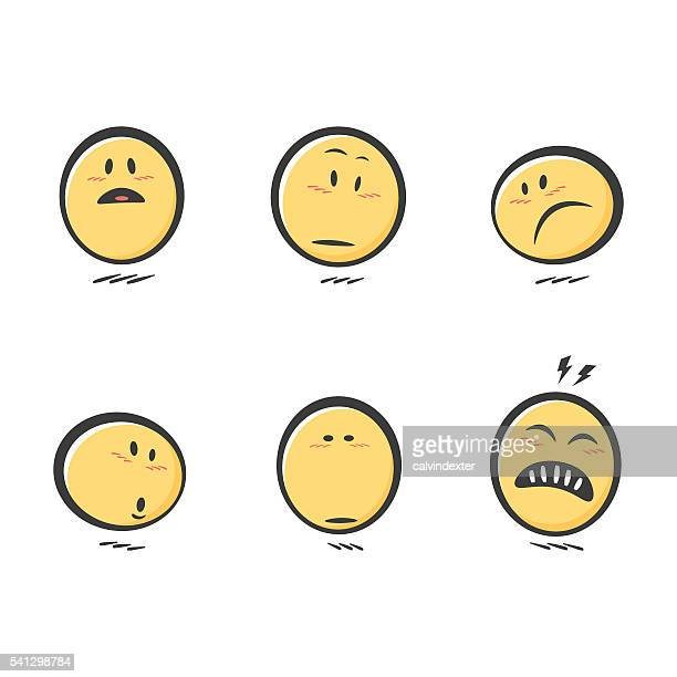 Set of cute hand drawn emoticons reactions