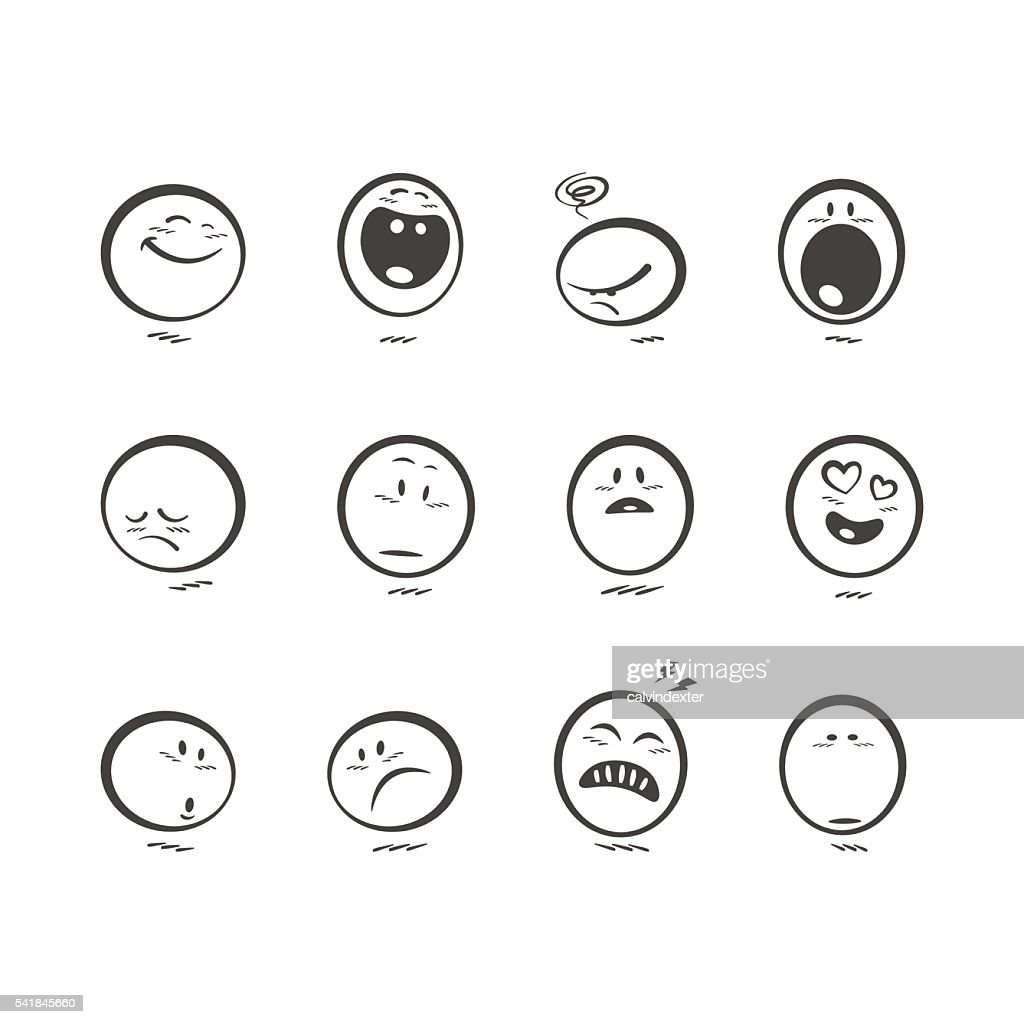 Set of cute hand drawn emoticons : stock illustration