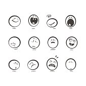 Set of cute hand drawn emoticons