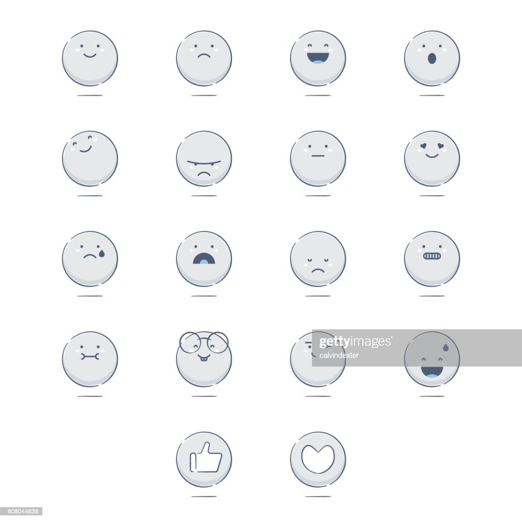 Set of cute hand drawn emoticons