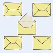 Set of cute hand drawn envelopes