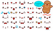 Set of cute kawaii emoticon face and sweet cookie kawaii. Collection emoticon manga, cartoon style. Vector illustration. Adorable characters icons design