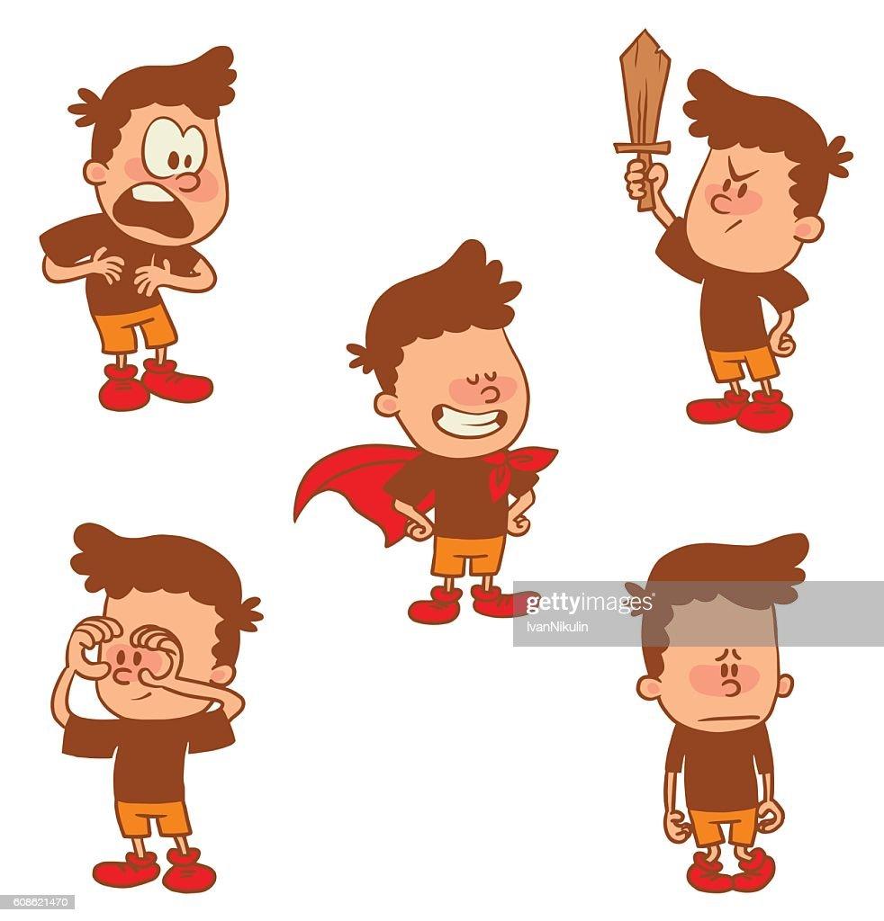 Set of cute little boys, color image