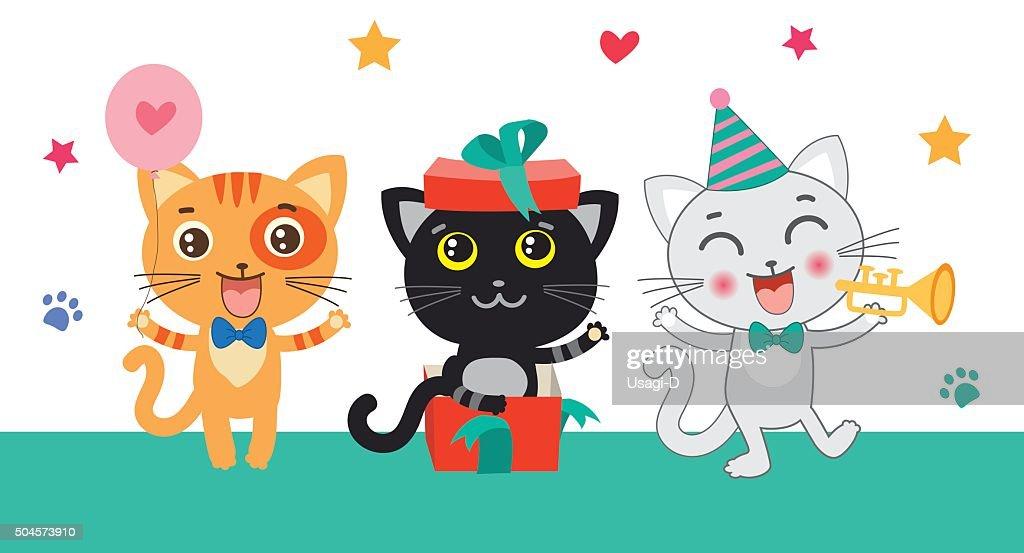 Set Of Cute Little Cats. Cartoon Animal.