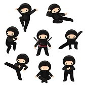 Set of cute ninjas in various poses isolated on white background