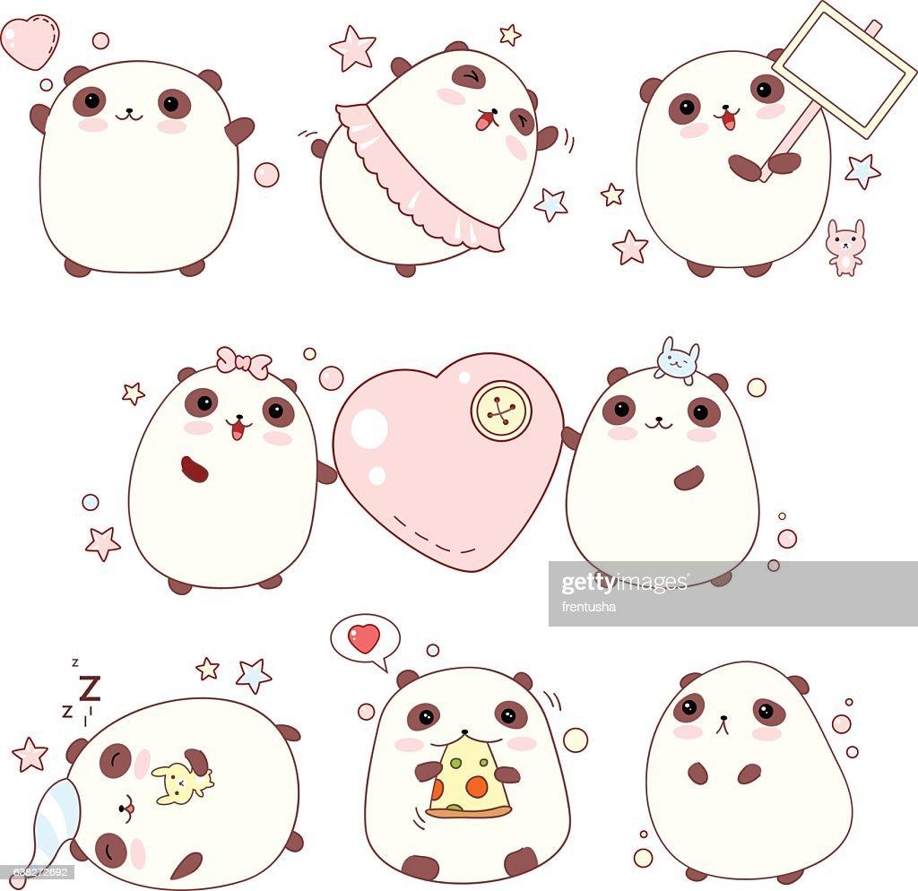 Set of cute pandas in kawaii style