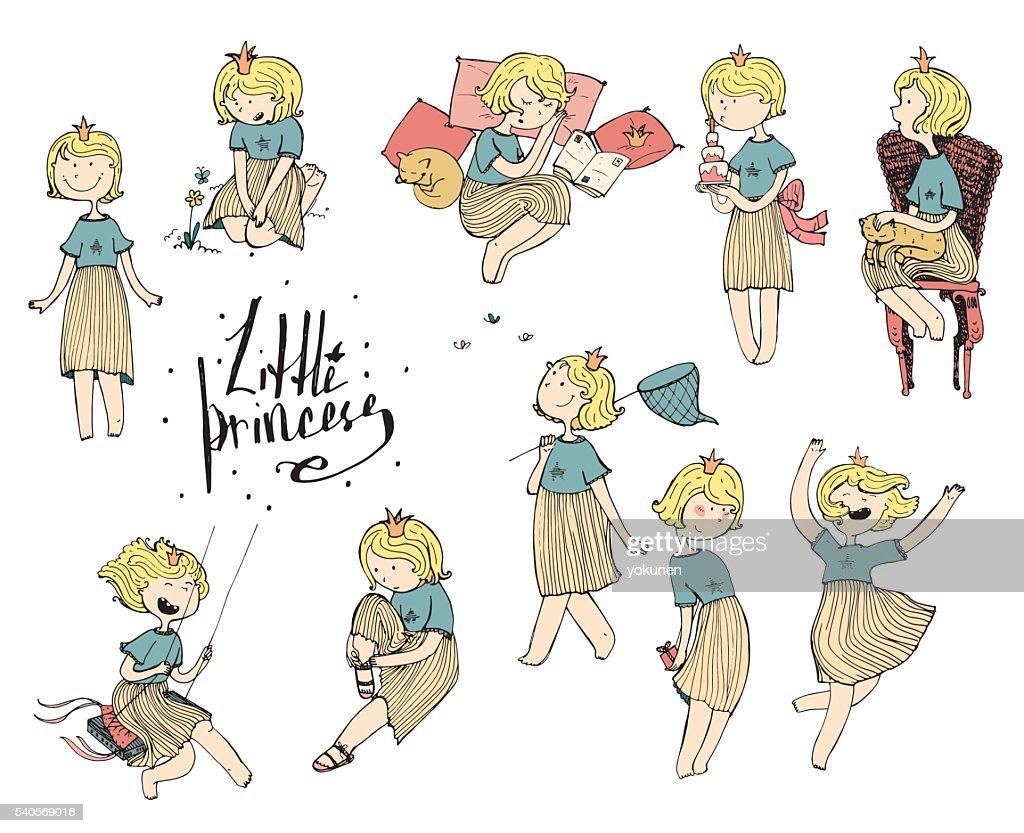 Set of cute princess fun vector hand drawn illustrations.